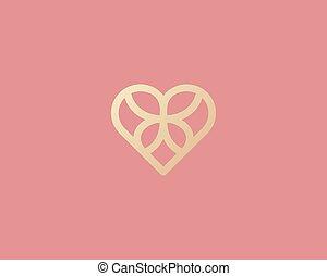 hjärta, hotell, begrepp, vector., lyxvara, arv, abstrakt, icon., massera, lutning, fjäril, kurort, logo, logotype, guld, design