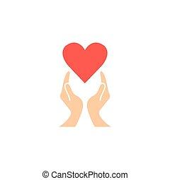 hjärta, ikon, underteckna, healtcare, fast, räcker