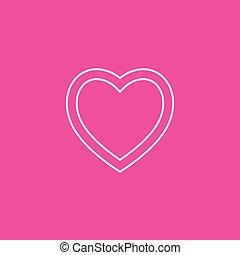 hjärta, ikon, vector., på, rosa bakgrund