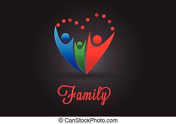 hjärta, ikon, vektor, familj, logo