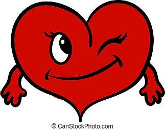 hjärta, illustration, bakgrund., vektor, vit, räcker