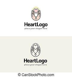hjärta, illustration., vektor, räcker, välgörenhet, logo., omsorg