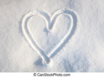 hjärta, in, snö
