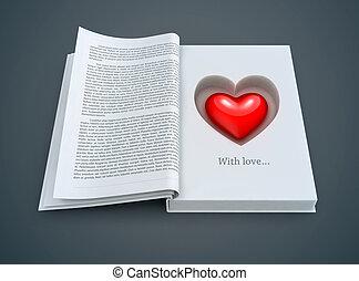 hjärta, insida, bok, öppna, röd