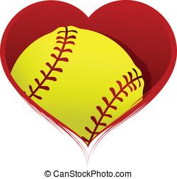 hjärta, insida, softboll
