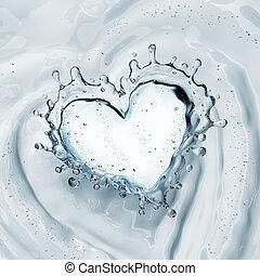 hjärta, isolerat, vatten, plaska, bubblar, vit