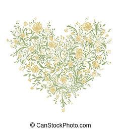 hjärta, kärlek, bukett, din, form, blom formgivning