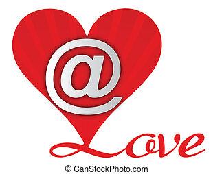 hjärta, kärlek, email