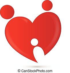hjärta, kärlek, familj, logo