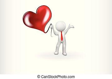 hjärta, kärlek, folk, -, vektor, liten, 3