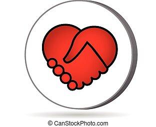 hjärta, kärlek, handshaking, logo