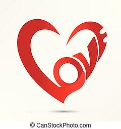 hjärta, kärlek, ikon