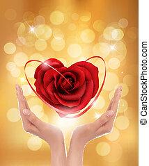 hjärta, kärlek, illustration., concept., vektor, röd, holdingen, hands.
