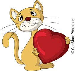 hjärta, kärlek, katt