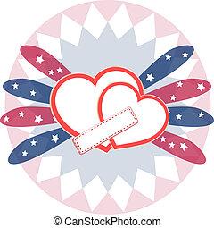 hjärta, kärlek, kort, abstrakt, valentinbrev, bakgrund, vektor, dag