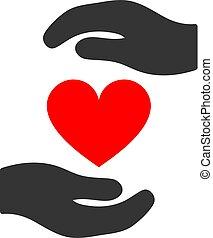hjärta, kärlek, lägenhet, skydd, räcker, ikon