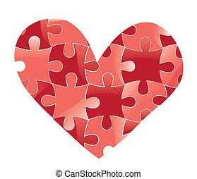 hjärta, kärlek, puzzle., bakgrund.