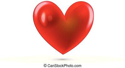 hjärta, kärlek, röd