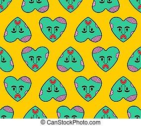 hjärta, kärlek, seamless., mönster, död, zombie, bakgrund., vektor, grön, struktur, kärleksaffär