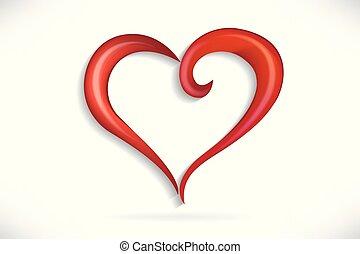 hjärta, kärlek, stylized, vektor, virvla runt, logo