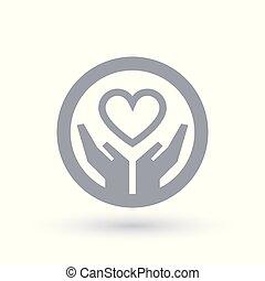 hjärta, kärlek, symbol., räcker, icon., välgörenhet