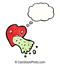 hjärta, kärlek, tecknad film, sjuk