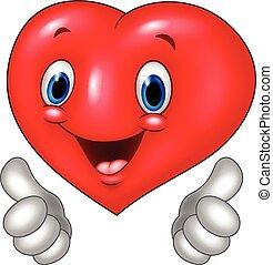 hjärta, kärlek, uppe, tumme, tecknad film, ge sig
