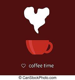 hjärta, kaffe, ånga