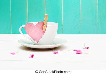 hjärta, kaffe, etikett, kopp
