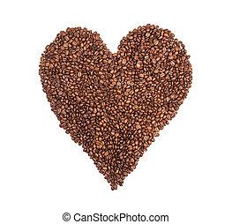 hjärta, kaffe, gjord, isolerat, bakgrund, bönor, vit