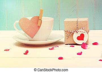 hjärta, kaffe kopp, etikett, giftbox, liten