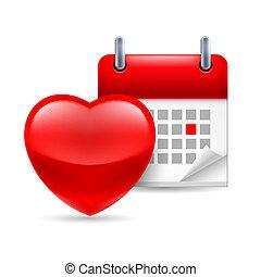 hjärta, kalender, röd