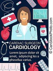 hjärta, kardiologi, affisch, läkar läkare, kirurg