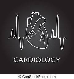 hjärta, kardiologi, medicinsk, vektor, mänsklig, symbol