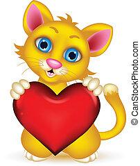 hjärta, katt, kärlek, holdingen, söt