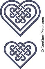hjärta, keltisk, form, knyta