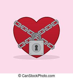 hjärta, ker, låsa