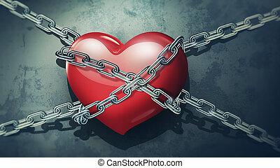 hjärta, ker, röd