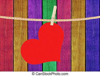 hjärta, klädnypa, målad, över, hänga, trä, bakgrund, röd