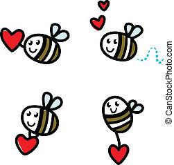hjärta, klotter, bi, isolerat, söt, sätta, valentinkort, röd, flygning