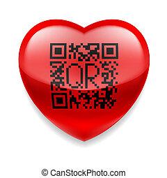 hjärta, kodifiera red, qr