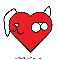 hjärta, komposition, hund, katt