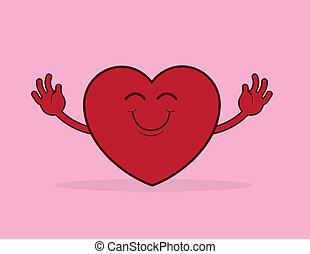 hjärta, kram, räckvidd