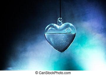 hjärta, kristall, concept., valentinkort, glöder, dag, glas, svart, mörk, bakgrund, dark., målning, transparent