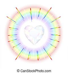 hjärta, kristall, regnbåge