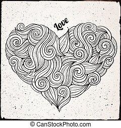 hjärta, krullat, vektor, hand, oavgjord
