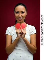 hjärta, kvinna, henne, räcker