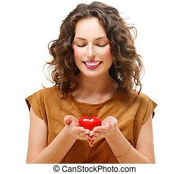 hjärta, kvinna, henne, skönhet, ung, valentinbrev, räcker