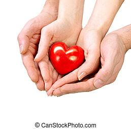 hjärta, kvinna, isolerat, valentinbrev, räcker, vit, man