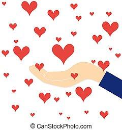 hjärta, kvinna, kärlek, röd, hand
